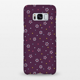 Galaxy S8+  Flowers Made Of Dots Pattern On Purple by Boriana Giormova