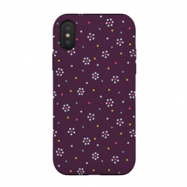 Flowers Made Of Dots Pattern On Purple by Boriana Giormova
