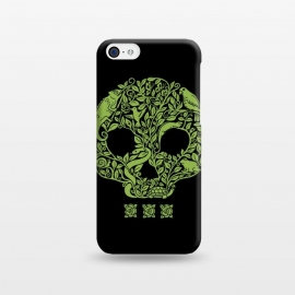 iPhone 5C  Green Skull by Coffee Man (skull,animals,snake,chamaleon,frog,bird,turtle,flowers,nature,creative,pet lover, animal lover,green,wild,negative space)