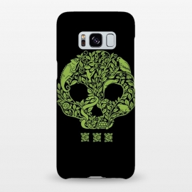 Galaxy S8+  Green Skull by Coffee Man (skull,animals,snake,chamaleon,frog,bird,turtle,flowers,nature,creative,pet lover, animal lover,green,wild,negative space)