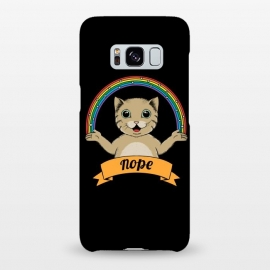 Galaxy S8+  Cat nope Black by Coffee Man (cat, cats,pet, pets,cute, adorable,fun, funny, rainbow, magic,nope, no,cat lady,animal,animals)