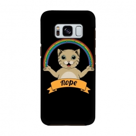 Galaxy S8  Cat nope Black by Coffee Man (cat, cats,pet, pets,cute, adorable,fun, funny, rainbow, magic,nope, no,cat lady,animal,animals)