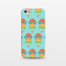 iPhone 5/5E/5s  Hot Ice Cream pattern green by Coffee Man (summer,vacation,sea,marine,melted,ice cream,sun glasses,spring break,sun,sunset,landscape,beach)