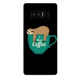 Galaxy Note 8  I NEED COFFEE by Coffee Man (coffee,i need coffee,coffee lover,sloth,animal,pet,pet lover,animal lover,fun,funny,humor,cute,adorable,morning)