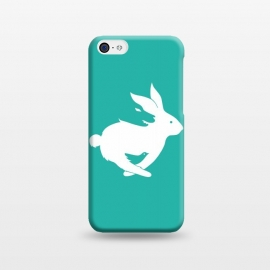 iPhone 5C  Run Rabbit Green by Coffee Man (rabbit,wolf,bird,animal,animals,pet,pets,creative,negative space,fun,funny,wild,animal lover)