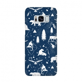 Arctic Circle - Navy Blue by Heather Dutton (arctic,arctic circle,arctic animals,animal,animals,polar bear,seal,penguin,wolf,owl,deer,winter,snow,iceberg,mountain,mountains,nature,nature inspired,blue,navy,navy blue,trees,pattern,patterns,snowfall)