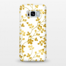 Galaxy S8+  Golden Vines by Uma Prabhakar Gokhale (graphic, pattern, gold, faux gold, golden, exotic, nature, botanical, vines, leaves, floral)