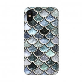 iPhone X  Multicolor Silver Metal Foil Mermaid Scales by Utart