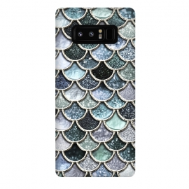 Galaxy Note 8  Multicolor Silver Metal Foil Mermaid Scales by Utart