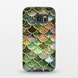 Galaxy S7  Multicolor Green Metal Glitter Mermaid Scales by Utart (fish,trendy,girly,ocean,sea,shell,metal,mermaid,scales,mermaid scales,metal foil,gatsby,chic,elegant,feminine,luxury,fashion,glitter,glamour,utart,green)