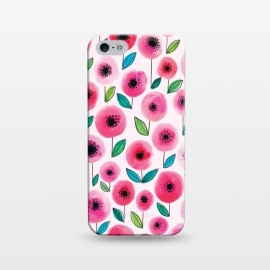 iPhone 5/5E/5s  Pink Poppy by Kimrhi Studios (watercolor,flowers,floral,nature,leaves,poppy)