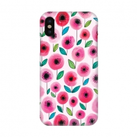 iPhone X  Pink Poppy by Kimrhi Studios (watercolor,flowers,floral,nature,leaves,poppy)