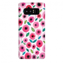 Galaxy Note 8  Pink Poppy by Rhiannon Pettie (watercolor,flowers,floral,nature,leaves,poppy)