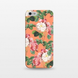 iPhone 5/5E/5s  Juliet by Uma Prabhakar Gokhale (graphic, acrylic, vector, floral, nature, quirky, flowers, coral, orange, tropical, summer, exotic, blossom, leaves, roses)