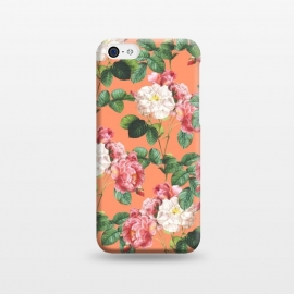 iPhone 5C  Juliet by Uma Prabhakar Gokhale (graphic, acrylic, vector, floral, nature, quirky, flowers, coral, orange, tropical, summer, exotic, blossom, leaves, roses)