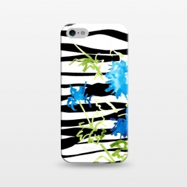 iPhone 5/5E/5s  WATERCOLOR STRIPES & FLORALS BLACK by