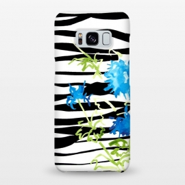 Galaxy S8+  WATERCOLOR STRIPES & FLORALS BLACK by ALIPRINTS Design Studio