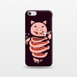 iPhone 5C  Dark Hungry Self Eating Cut In Steaks Pig by Boriana Giormova