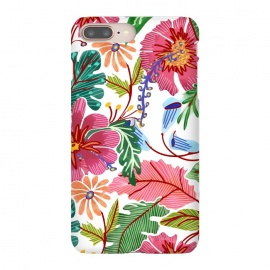 iPhone 8/7 plus  Freshly Cut by  (graphic design, pattern, watercolor, floral, nature, botanical, flowers, blossom, exotic, pink, green, vibrant, colorful, petals, foliage, tropical, leaves, white, orange, blue)