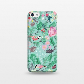 iPhone 5C  The Secret Garden - Mint by Stefania Pochesci (Secretgarden,garden,birds,floral,secret,leaves,surfacepattern,magic,gift,unique,whimsical)