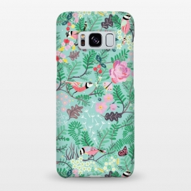 Galaxy S8+  The Secret Garden - Mint by Stefania Pochesci (Secretgarden,garden,birds,floral,secret,leaves,surfacepattern,magic,gift,unique,whimsical)