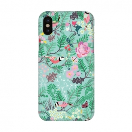 iPhone X  The Secret Garden - Mint by Stefania Pochesci (Secretgarden,garden,birds,floral,secret,leaves,surfacepattern,magic,gift,unique,whimsical)