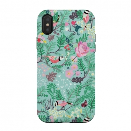 iPhone Xs / X  The Secret Garden - Mint by Stefania Pochesci (Secretgarden,garden,birds,floral,secret,leaves,surfacepattern,magic,gift,unique,whimsical)