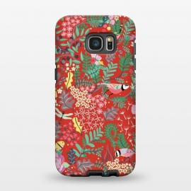 Galaxy S7 EDGE  The secret Garden - Red by Stefania Pochesci (red,thesecretgarden,secret,garden,illustration,unique,whimsical,gift,surfacepattern)