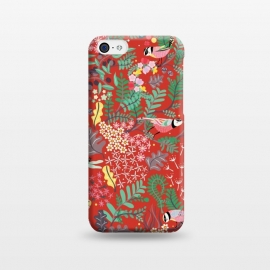 iPhone 5C  The secret Garden - Red by Stefania Pochesci (red,thesecretgarden,secret,garden,illustration,unique,whimsical,gift,surfacepattern)