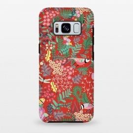 Galaxy S8+  The secret Garden - Red by Stefania Pochesci (red,thesecretgarden,secret,garden,illustration,unique,whimsical,gift,surfacepattern)