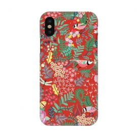 iPhone X  The secret Garden - Red by Stefania Pochesci (red,thesecretgarden,secret,garden,illustration,unique,whimsical,gift,surfacepattern)
