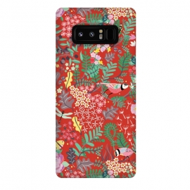 Galaxy Note 8  The secret Garden - Red by Stefania Pochesci (red,thesecretgarden,secret,garden,illustration,unique,whimsical,gift,surfacepattern)