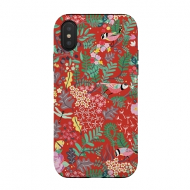 iPhone Xs / X  The secret Garden - Red by Stefania Pochesci (red,thesecretgarden,secret,garden,illustration,unique,whimsical,gift,surfacepattern)