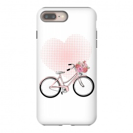 iPhone 8/7 plus  Love Bike by Martina (love,heart,pink,valentine,valentines day,romantic,flowers,bike,stylish,vintage,cute,illustration)