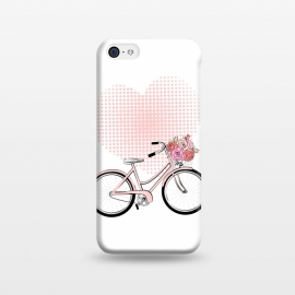 iPhone 5C  Love Bike by Martina (love,heart,pink,valentine,valentines day,romantic,flowers,bike,stylish,vintage,cute,illustration)