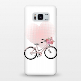 Galaxy S8+  Love Bike by Martina (love,heart,pink,valentine,valentines day,romantic,flowers,bike,stylish,vintage,cute,illustration)