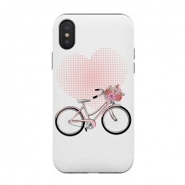 iPhone Xs / X  Love Bike by  (love,heart,pink,valentine,valentines day,romantic,flowers,bike,stylish,vintage,cute,illustration)