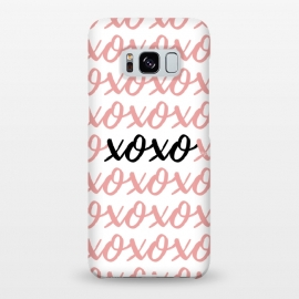 Galaxy S8+  XOXO love by Martina (love,xoxo,pink,typography,words,letters,stylish,modern,feminine,abstract,valentine,valentines day)