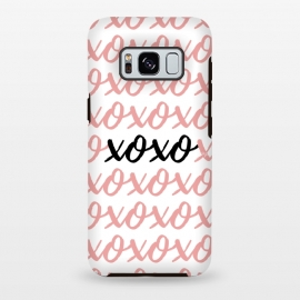 Galaxy S8 plus  XOXO love by  (love,xoxo,pink,typography,words,letters,stylish,modern,feminine,abstract,valentine,valentines day)