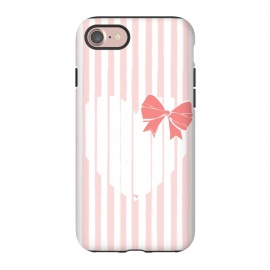iPhone 8/7  Heart Stripes by Martina (love,heart,sweet,pink,modern,vintage,retro,bow,valentine,valentines day,stylish,feminine,stripes)