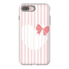 iPhone 8/7 plus  Heart Stripes by Martina (love,heart,sweet,pink,modern,vintage,retro,bow,valentine,valentines day,stylish,feminine,stripes)