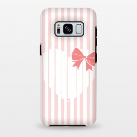 Galaxy S8+  Heart Stripes by Martina (love,heart,sweet,pink,modern,vintage,retro,bow,valentine,valentines day,stylish,feminine,stripes)