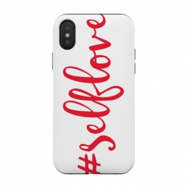 iPhone Xs / X  Selflove by  (love,selflove,red,typography,hashtag,modern,girl boss,feminine,feminist)