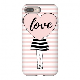 iPhone 8/7 plus  Pink Heart Love by Martina (love,heart,valentine,valentines day,modern,cute,sweet,feminine,pink,stylish,woman,girl,typography,words)