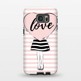 Galaxy S7 EDGE  Pink Heart Love by Martina