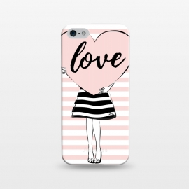 iPhone 5/5E/5s  Pink Heart Love by Martina (love,heart,valentine,valentines day,modern,cute,sweet,feminine,pink,stylish,woman,girl,typography,words)