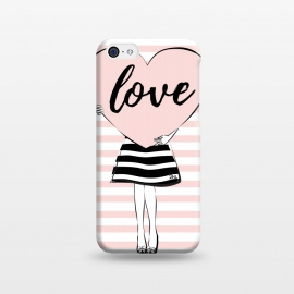 iPhone 5C  Pink Heart Love by Martina (love,heart,valentine,valentines day,modern,cute,sweet,feminine,pink,stylish,woman,girl,typography,words)