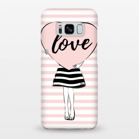 Galaxy S8+  Pink Heart Love by Martina (love,heart,valentine,valentines day,modern,cute,sweet,feminine,pink,stylish,woman,girl,typography,words)