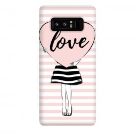 Galaxy Note 8  Pink Heart Love by Martina (love,heart,valentine,valentines day,modern,cute,sweet,feminine,pink,stylish,woman,girl,typography,words)