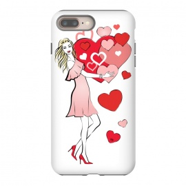 iPhone 8/7 plus  Queen of Hearts by Martina (love,heart,woman,girl,valentine,valentines day,stylish,modern,cute,feminine,girly,illustration)